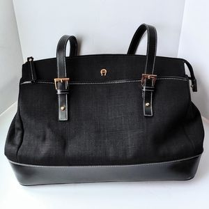 ETIENNE AIGNER Black Fabric Leather Tote Bag